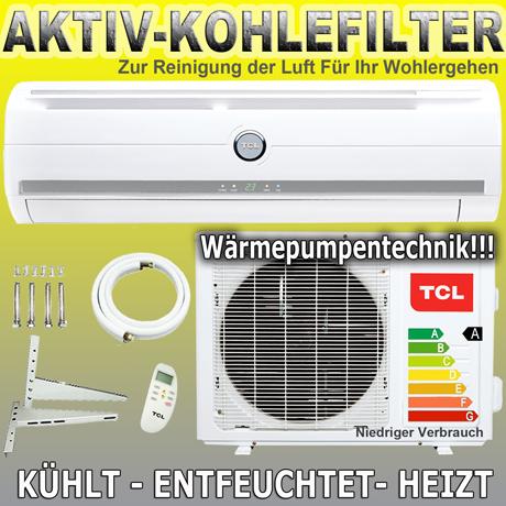 tcl split klima anlage klimaanlage heizung active carbon filter ebay. Black Bedroom Furniture Sets. Home Design Ideas